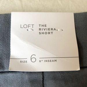 Loft riviera short gray NWT size 6 8!inch inseam